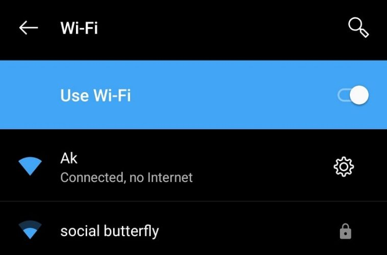 WiFi Connected no Internet Android