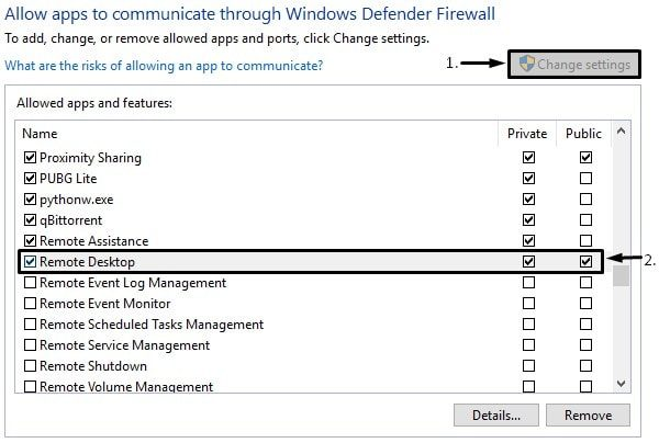 Allow Remote Desktop in Windows Firewall