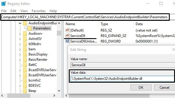 Modify Audio Registry Value Data