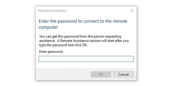 Remote Assistance Enter Password