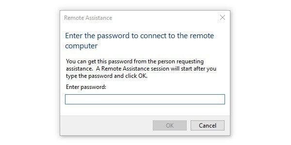 Remote Assistance Enter Password