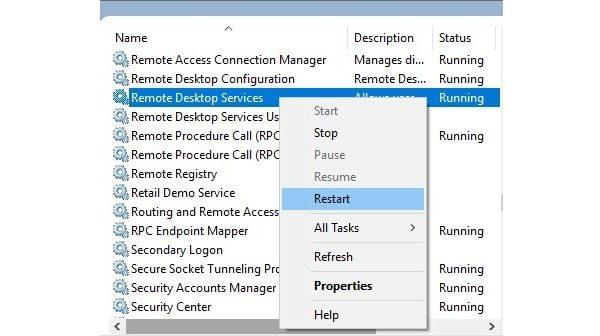 Restart Remote Desktop Services