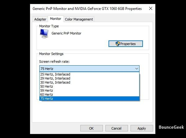 Select higher screen refresh rate