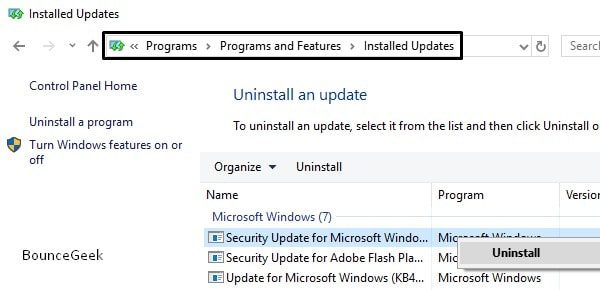 Uninstall Recent Windows Update