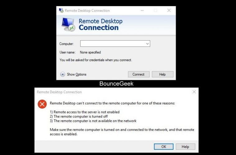 Fix - Windows 10 Remote Desktop Not Working or Connecting  - BounceGeek