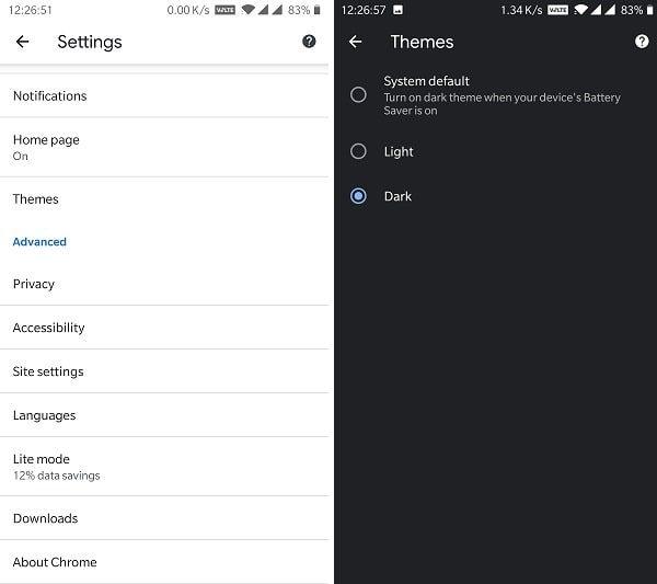 Chrome Dark Theme - Settings Themes