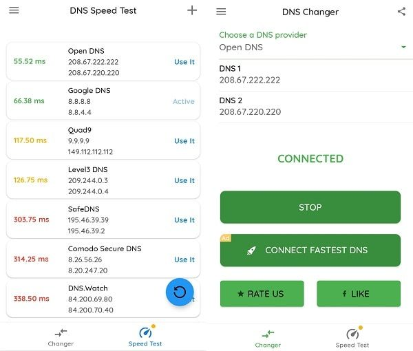 Connect to the fastest DNS Provider