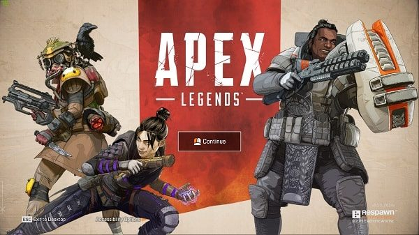 Continue Screen of Apex Legends