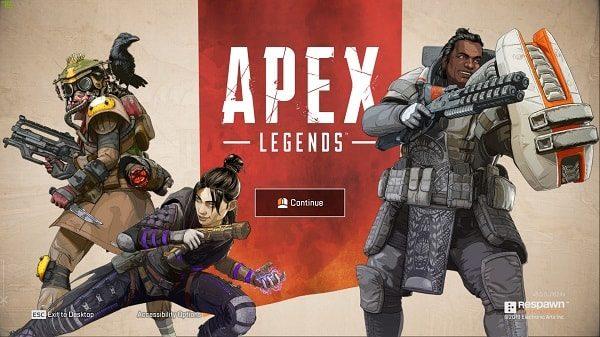 Continue Screen of Apex Legends