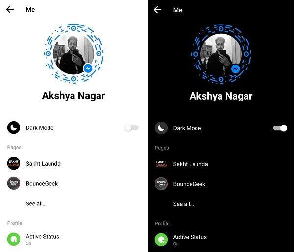 Dark Mode in Messenger