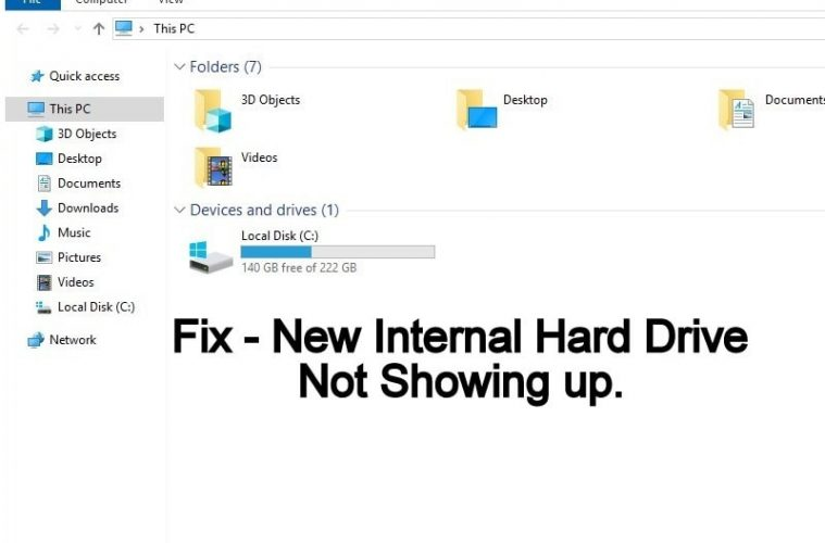 new hard drive not showing up in windows 10
