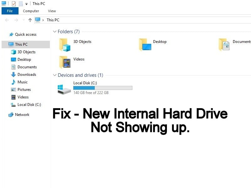 New Internal Hard Drive not showing up