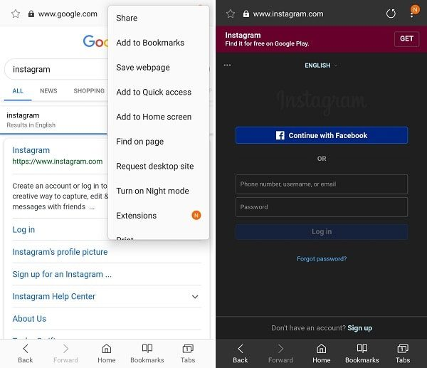 Samsung Browser - Turn on Night Mode