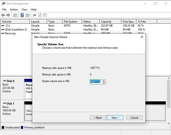 Specify Volume Size of Hard Drive