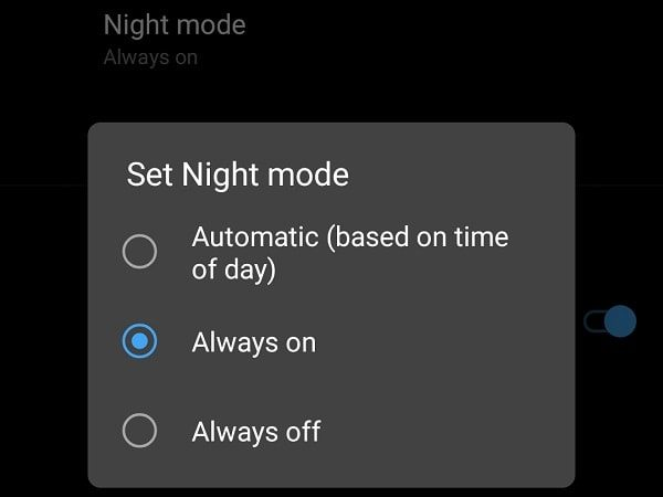 Night Mode Developer Options