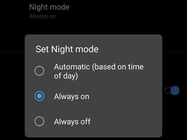 Night Mode Developer Options