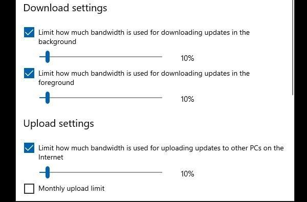 Set Bandwidth for Windows Update