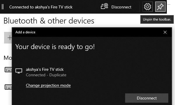 Mirror Windows 10 to Fire TV Stick