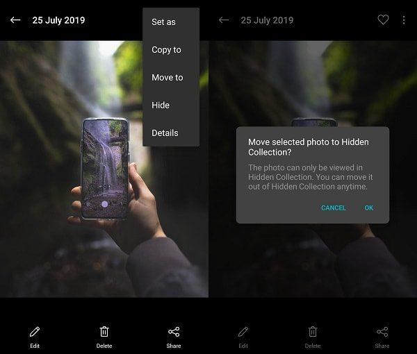 Hide Photos - OnePlus Gallery App
