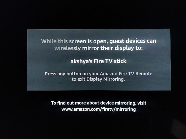 Mirroring Screen of Fire TV Stick