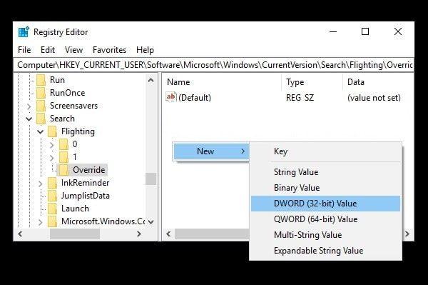 New DWORD (32-bit) Value - Override Folder