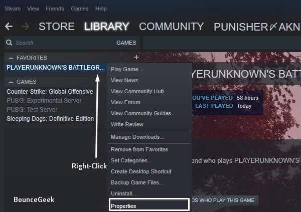 Open PUBG PC Properties