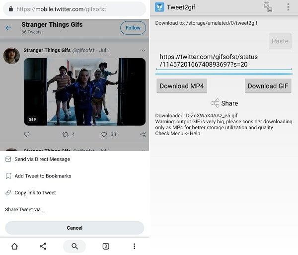 Use Tweet2gif App