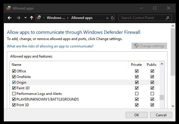 Allow Origin in Windows Defender Firewall - login is currently unavailable