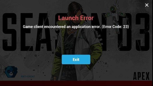 Apex Legends Launch Error Error Code 23