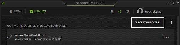 Check For Updates - GeForce Experience
