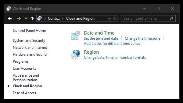 Clock and Region Control Panel