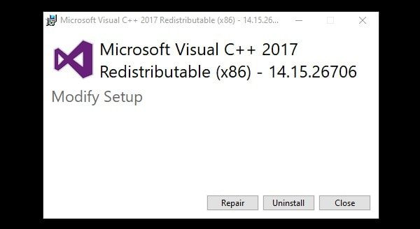Repair Microsoft Visual C++