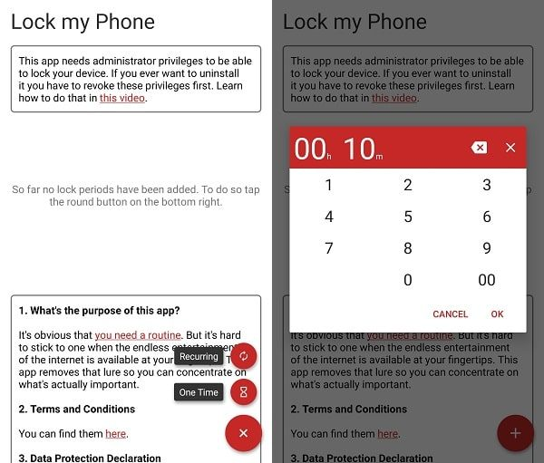 Set Timer - Lock My Phone