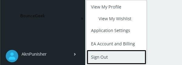Sign Out Origin Account - Apex Legends Won't Launch