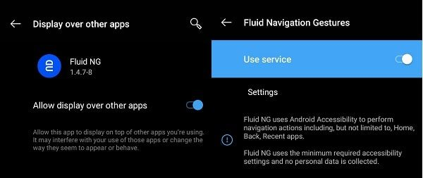 Accessibility and Draw over other Apps - Fluid Navigation Gestures