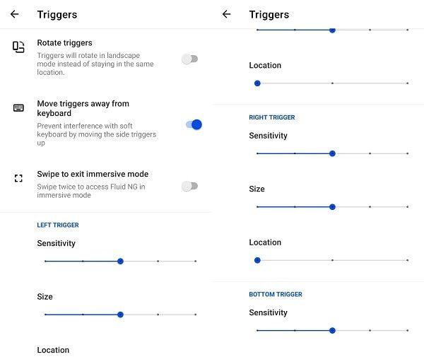 Fluid NG App Triggers - Navigation Gestures