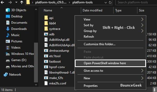 SDK Platform Tools - Open PowerShell window here