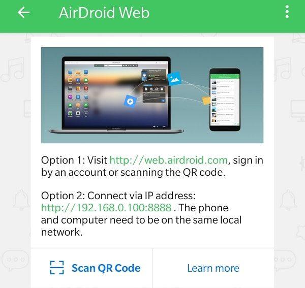 AirDroid Web App - Pushbullet Alternative