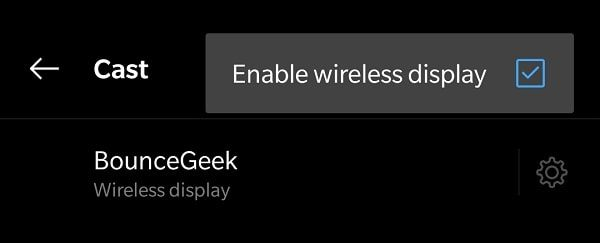 Enable wireless display to Mirror Android Screen to PC