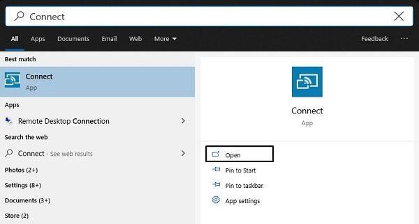 Open Windows 10 Connect App