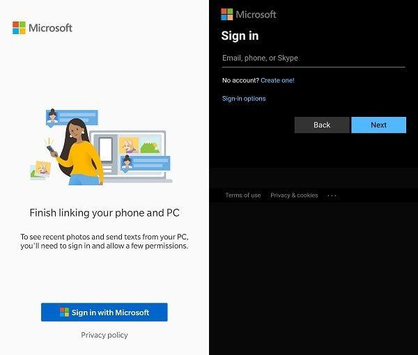 Your Phone App Microsoft Account Login