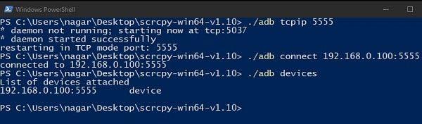 enable adb over TCPIP