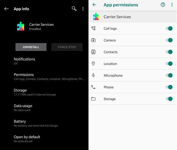 Allow Carrier Services App Permission