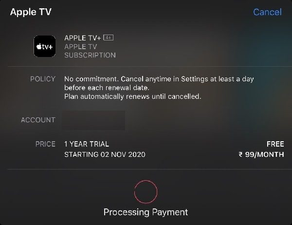 Apple TV+ Payment Confirmation - 1 Year Trial