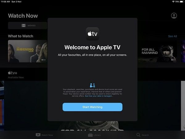 Apple TV Welcome Screen