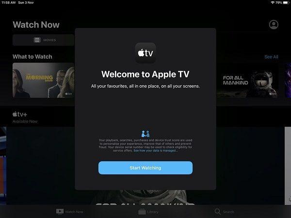 Apple TV Welcome Screen