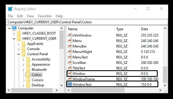 Change RGB Color Code - Window and WindowText