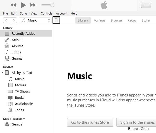 Click on Device Icon - iTunes