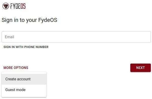 Create Fyde OS Account