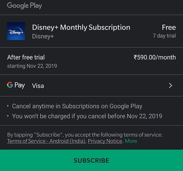 Disney+ Monthly Subscription - Google Play